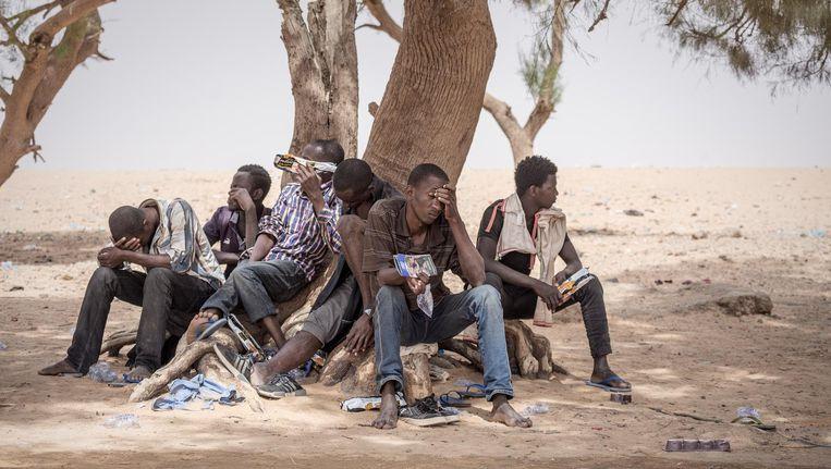 Een deel van de groep migranten die door mensensmokkelaars is achtergelaten in de woestijn. Ze werden overvallen en beroofd door bandieten. Beeld Sven Torfinn