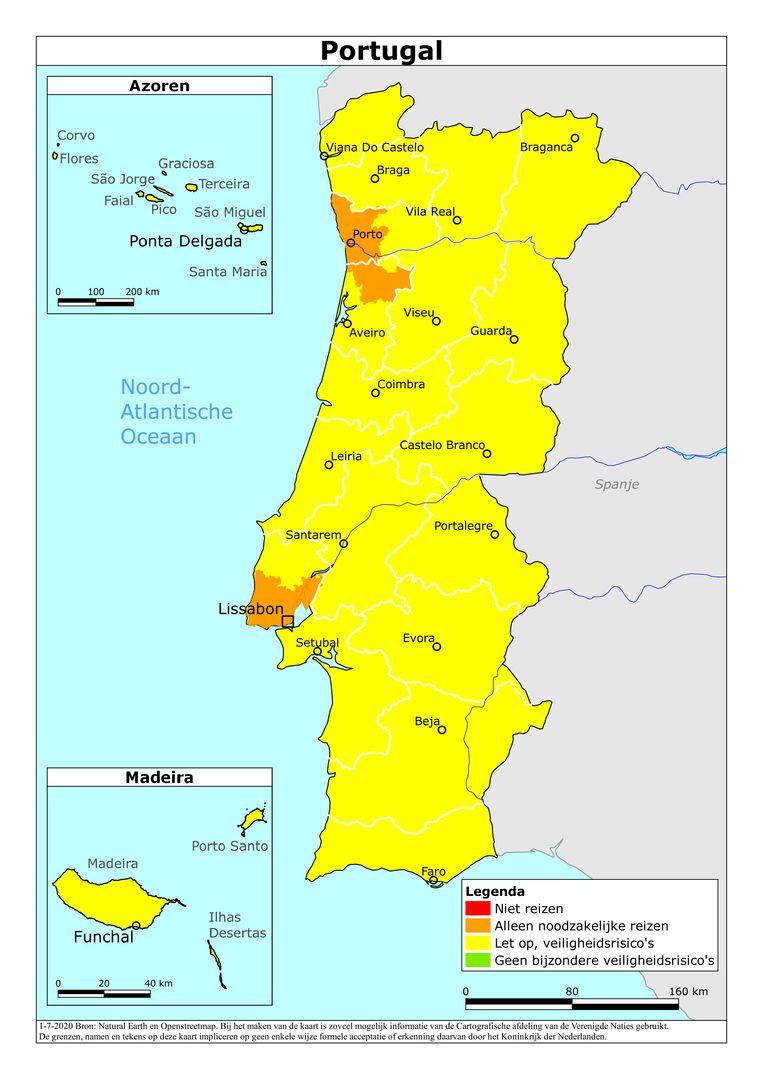 Situatie Portugal 1 juli 2020. Beeld Ministerie van Buitenlandse Zaken/Rijksoverheid