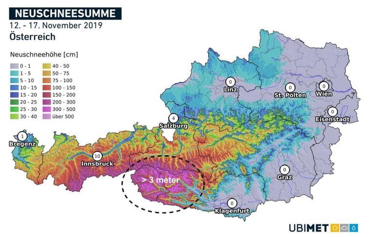 Sommige weermodellen berekenen voor de komende dagen nog meer dan 3 meter sneeuw in Südtirol.