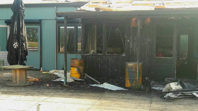 Een deel van het restaurant van Strand Oog in Al (Soia) in Utrecht brandde in de zomer af. Vermoedelijk na brandstichting.