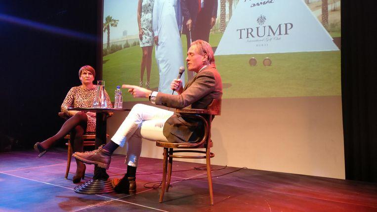 Jort Kelder en Lilianne Ploumen in debat over wat een overwinning van Trump of Clinton voor de wereld zal betekenen. Beeld de Volkskrant