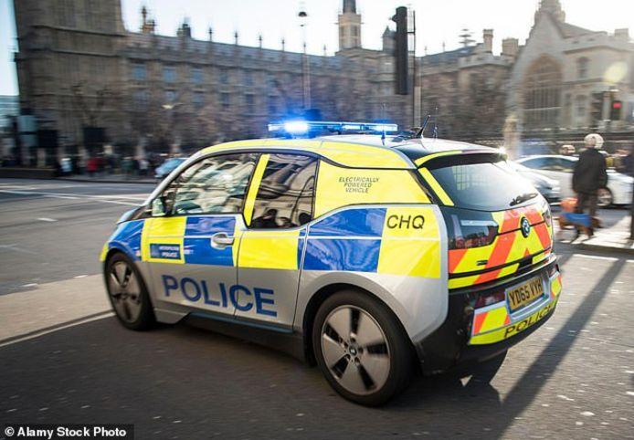 Elektrische politieauto in Engeland.