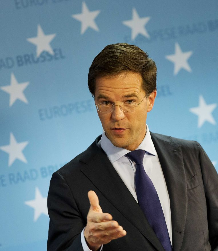 Premier Rutte in Brussel. Beeld null