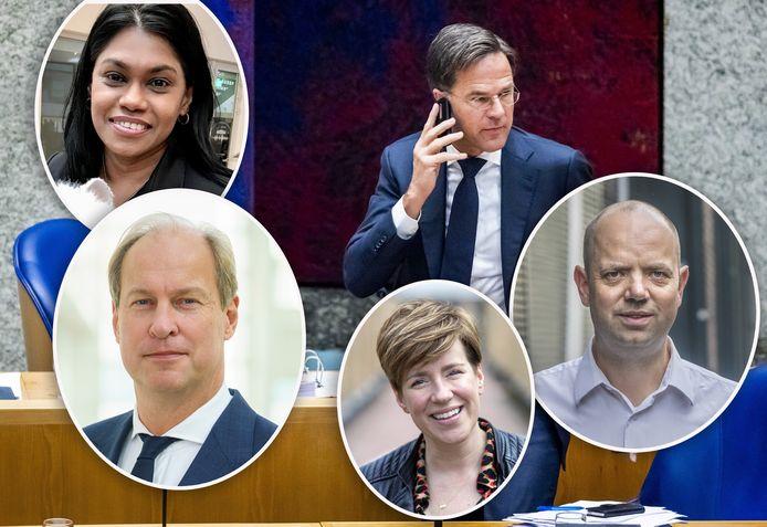 Wie kan premier Mark Rutte in Den Haag bellen? Kavita Parbhudayal (linksboven), Anne Mulder (linksonder), Judith Oudshoorn (midden onder) of Frans de Graaf (rechtsonder)?