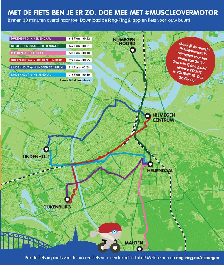 Ring-Ring kaart met fietsroutes in Nijmegen