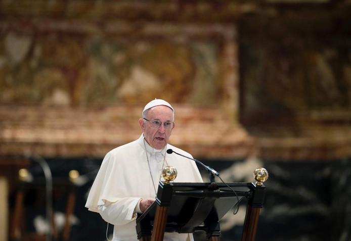 Paus Franciscus tijdens de toespraak
