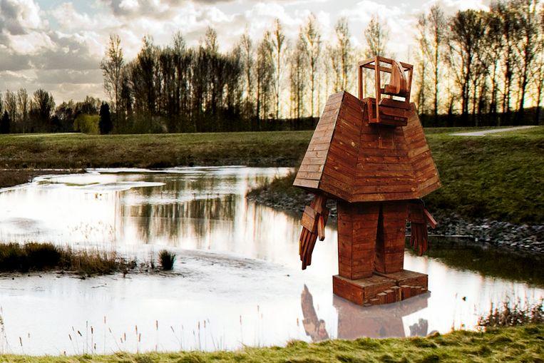 een simulatie van de houten golem in de potpolder