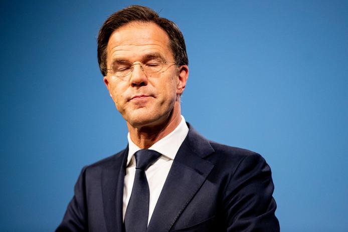 Persconferentie van Minister President Mark Rutte in Nieuwspoort na afloop van de ministerraad.