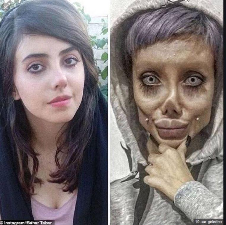 Sahar Tabar en haar vermomming: een horrorversie van actrice Angelina Jolie. Beeld Instagram Sahar Tabar