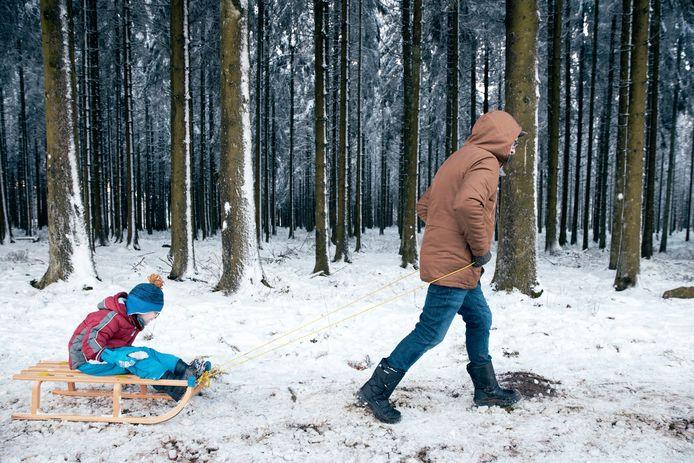 Sneeuw in Waimes, België. Beeld van vorige week.