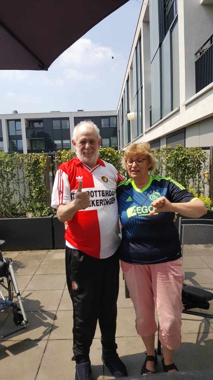 Harrie en Maaike, een Feyenoord- en Ajaxsupporter.