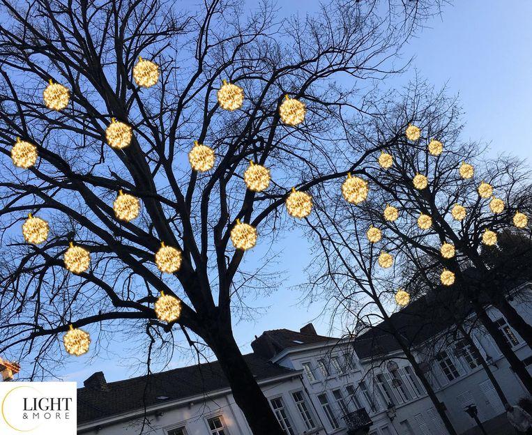 Er komen 3D-kerstballen, zoals in de bomen op het Sint-Maartenskerkhofplein.