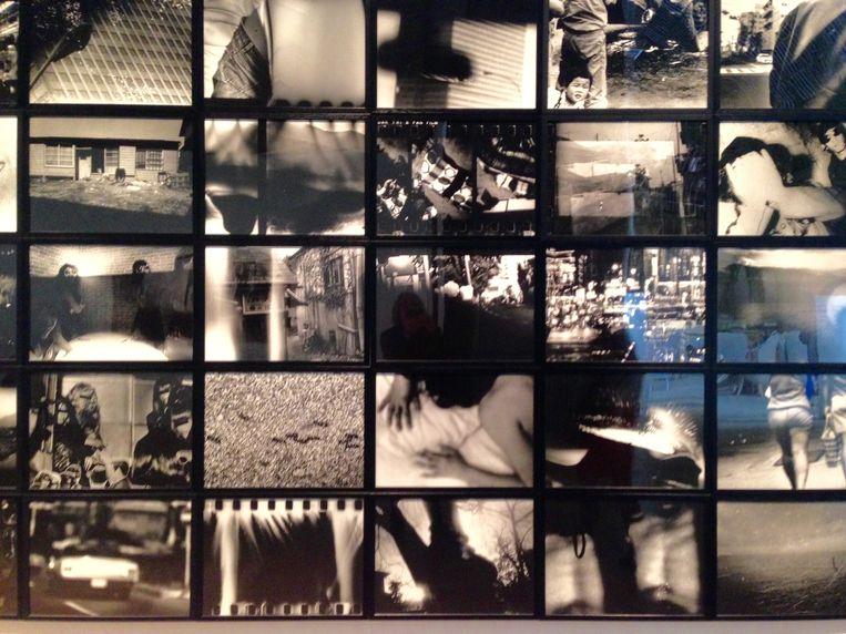 Detail van Moriyama's fotopresentatie op Paris Photo Beeld Arno Haijtema