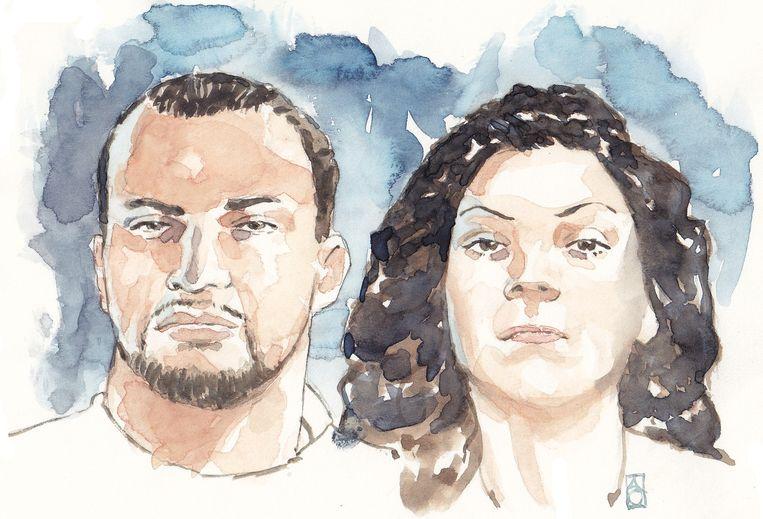 Rechtbanktekening van het 'gangsterduo' dat al rovend door Nederland trok. Beeld ANP