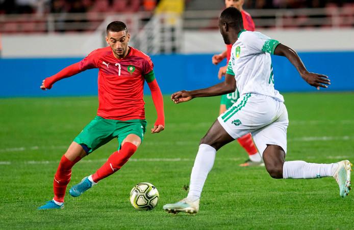 Hakim Ziyech in actie tegen Mauritanië.