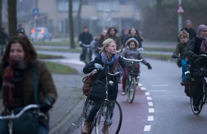 Drukte met fietsers.