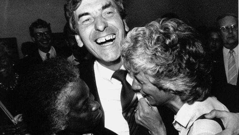 Lubbers kort na zijn verkiezingsoverwinning met het CDA. Beeld ANP