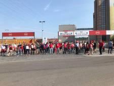 Rassemblement de soutien aux travailleurs d'AB InBev sur le site de Jupille