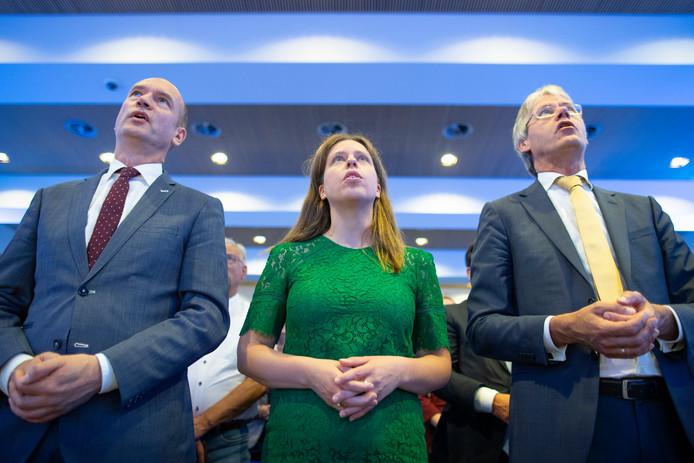 Gert-Jan Segers, Carola Schouten en Arie Slob op het vorige ChristenUnie-congres.