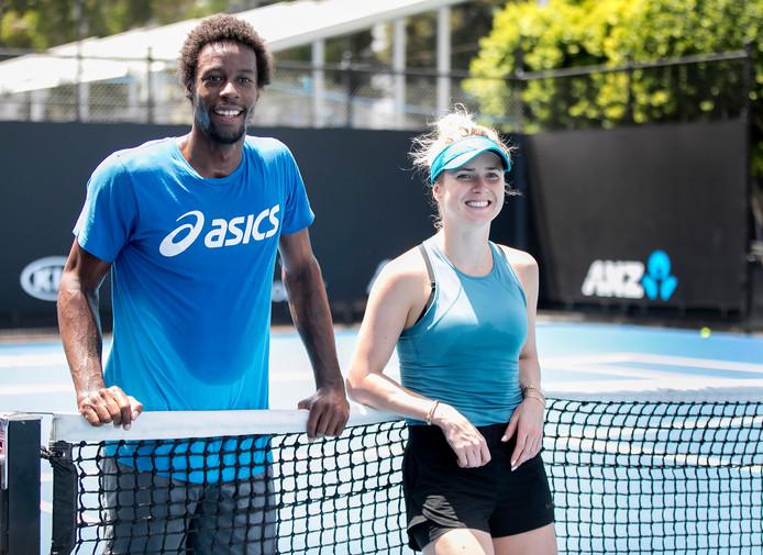 Gaël Monfils met zijn vriendin Elina Svitolina tijdens de Australian Open.
