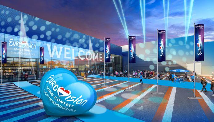 Impressie van de Brabanthallen bij een Eurovisie Songfestival in Den Bosch.