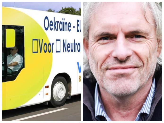 Peter Vlug en een impressie van de bus, zoals die de komende maand door het land rijdt. Eigen foto