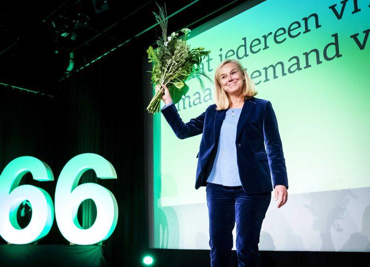Sigrid Kaag tijdens haar presentatie als lijsttrekker van D66. Beeld ANP