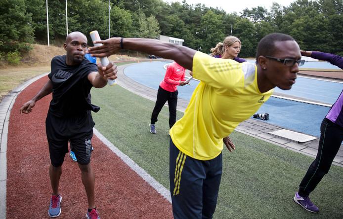 Churandy Martina en Liemarvin Bonevacia trainen op Papendal.