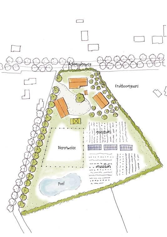artst impression van het ontwerp voor de tuin van de Achtmaalseweg 111 in Zundert