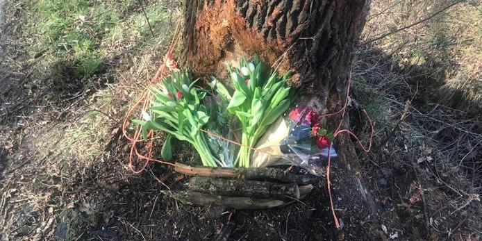 Bloemen bij de boom waar het fatale ongeluk gebeurde