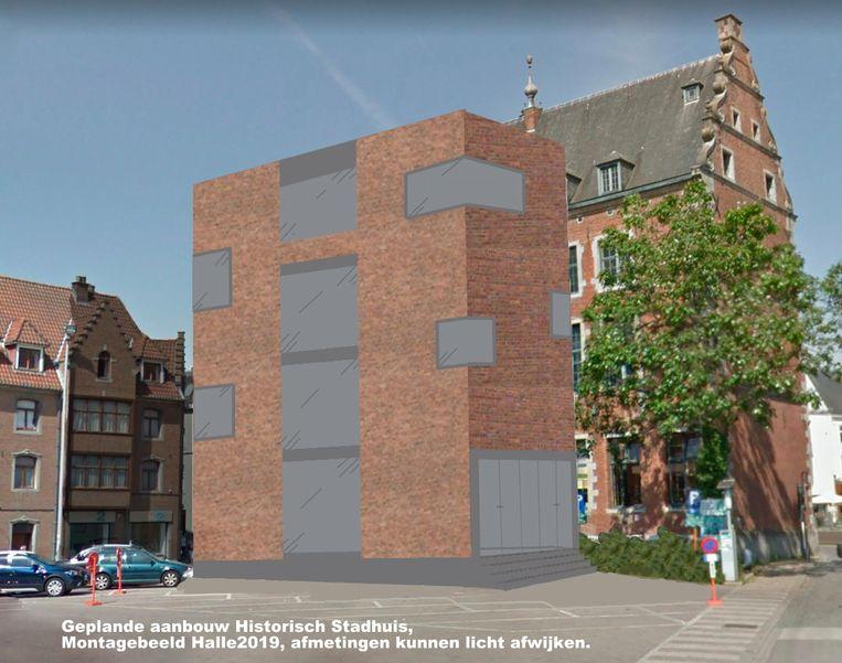 Het 3D-beeld dat Yves Demanet zelf maakte om de geplande aanbouw te visualiseren.