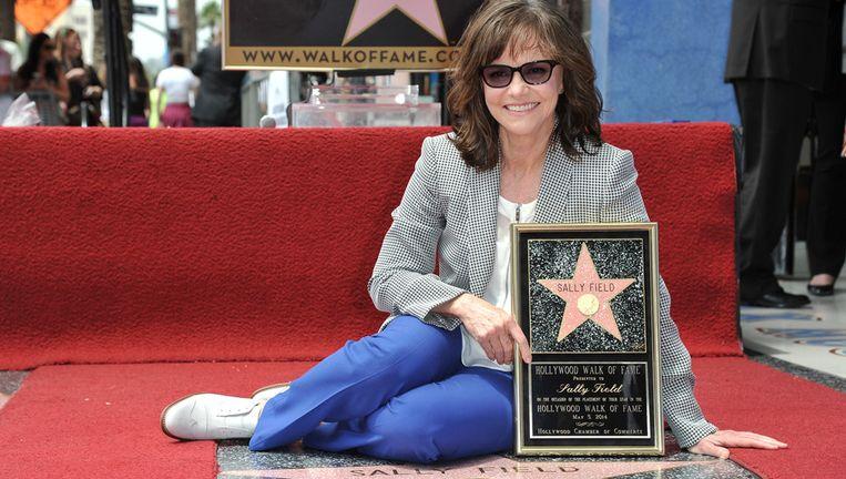 Actrice Sally Field op de Walk of Fame.