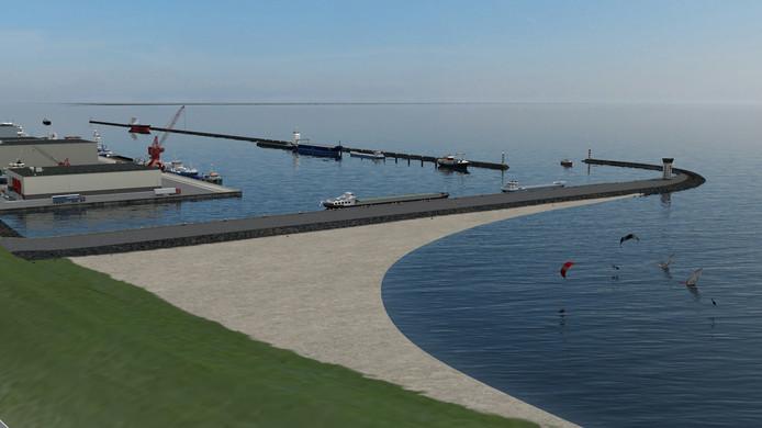 Impressie van de buitendijkse haven bij Urk. Op deze locatie langs de Zuidermeerdijk kan een haven komen van ongeveer tien hectare.