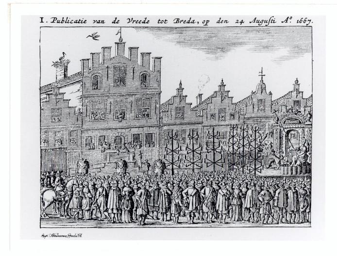 Bij het stadhuis van Breda werd op 24 augustus 1667 de Vrede van Breda officieel bekendgemaakt.