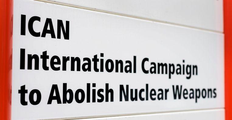 Bordje bij ICAN's hoofdkantoor in Geneve. Beeld AFP