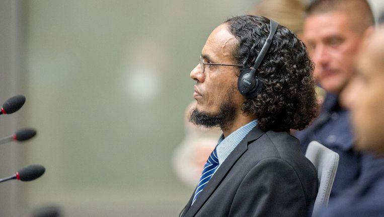 De Malinese terrorist Ahman al-Faqi al-Mahdi tijdens de eerste zittingsdag in het Internationaal Gerechtshof. Beeld anp