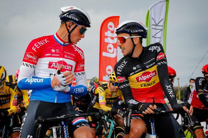 Mathieu van der Poel en Dries de Bondt voor de eerste etappe.