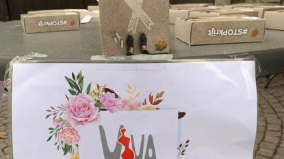 Witte linten tegen geweld op vrouwen op Grote Markt in Leuven. Ook Urbanus laat van zich horen…