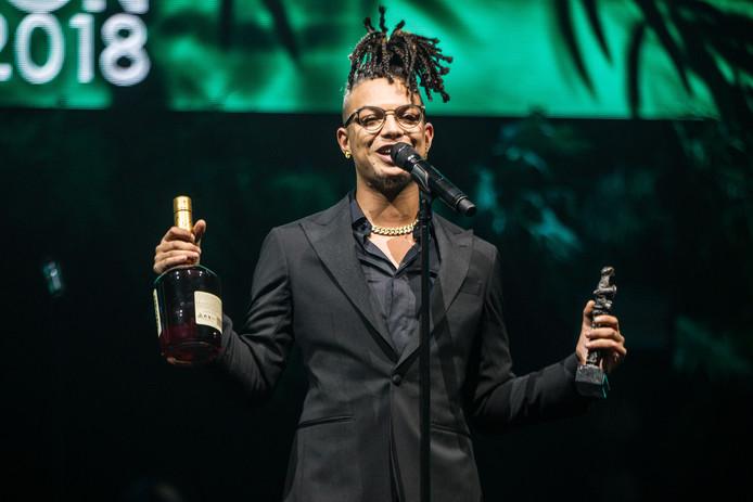Ronnie Flex wint Edison Best Hiphop tijdens de uitreiking van de Edison POP 2018 prijzen in de Westergasfabriek in Amsterdam.