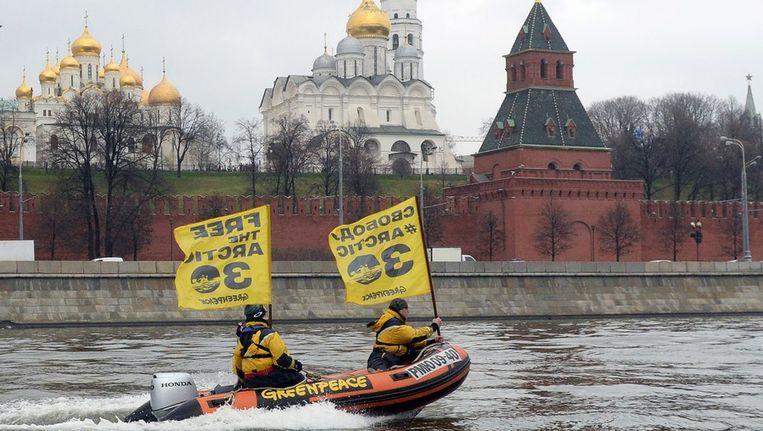 Woensdag demonstreerde Greenpeace al bij het Kremlin in Moskou. Beeld afp