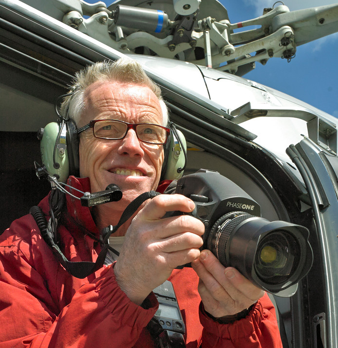 Rob de Wind in een Eurocopter