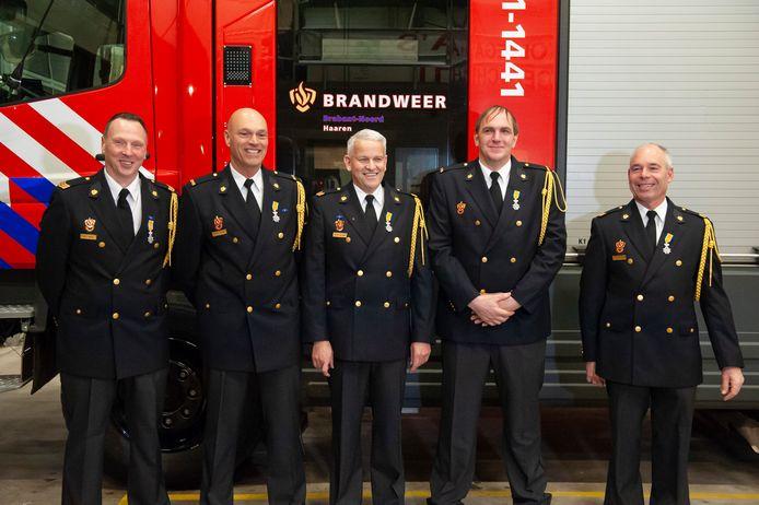 Van links naar rechts: Martien Bekkers, Helmoed Janssen, René van Baast, Frank van Esch en Bennie van de Wiel