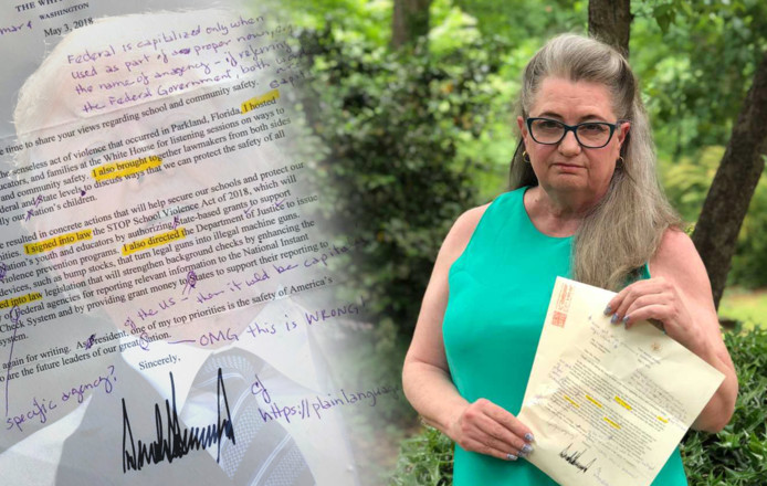 Voormalig lerares Yvonne Mason met de brief die zij ontving van president Trump.
