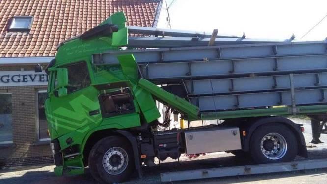 Enkele centimeters verder en deze trucker had het niet kunnen navertellen