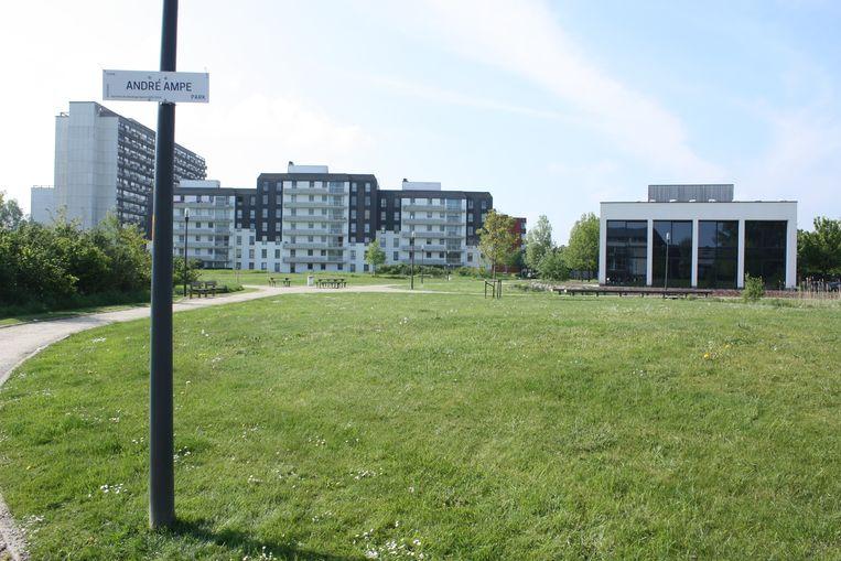 Het André Ampepark ligt naast het nieuwe kantoor van De Gelukkige Haard.