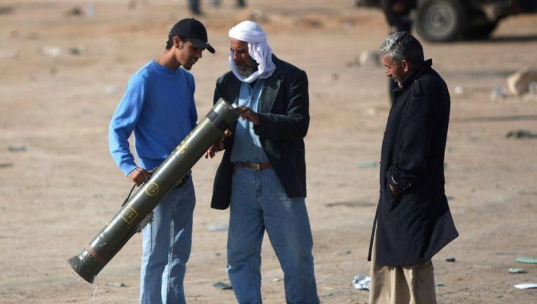 Libische rebellen in Ajdabiya. © afp Beeld afp