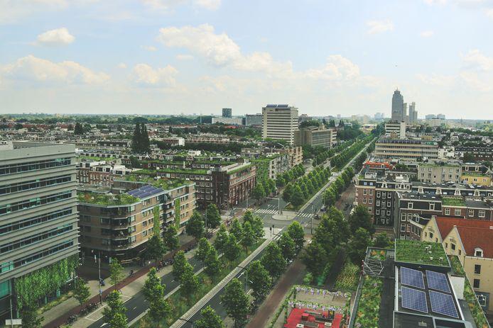 Impressie van het nieuw aan te leggen park in de Wibautstraat