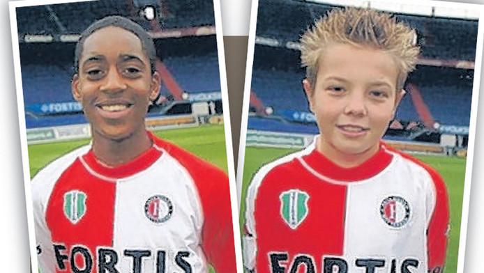Leroy Fer en Jordy Clasie als jeugdspelers bij Feyenoord.