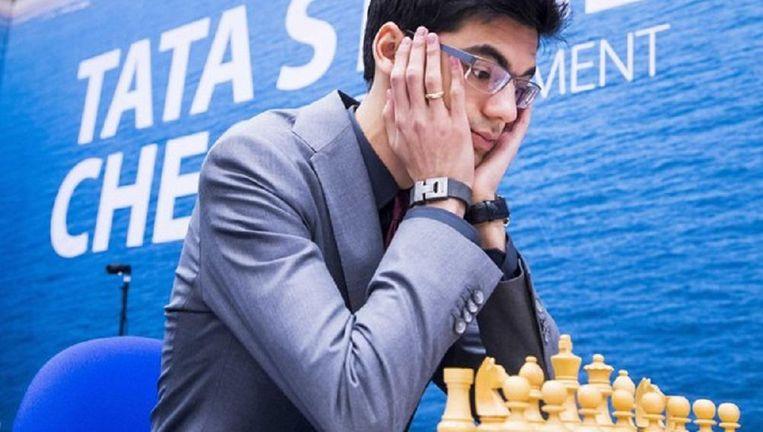 Anish Giri tijdens de tweede ronde van Tata Steel Chess 2017. Beeld anp