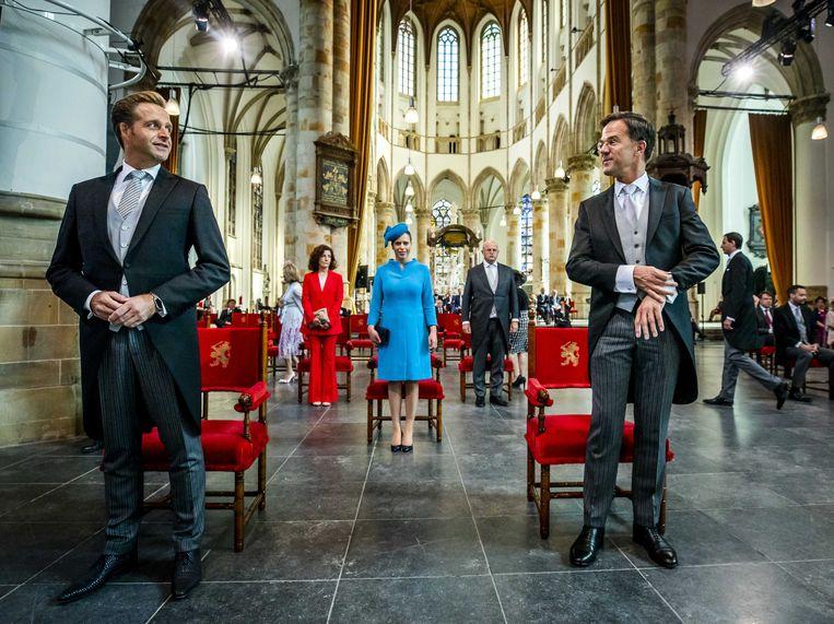 Minister Hugo de Jonge (Volksgezondheid) (links) en premier Mark Rutte. Beeld ANP